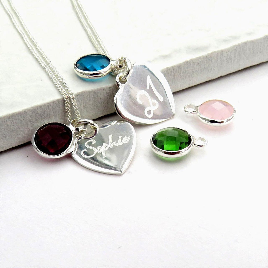 Personalised Heart and Birthstone Necklace 1 - The Charming Jewellery Store