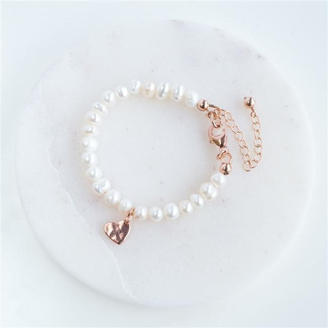 Pearl Rose Gold Heart Charm Bracelet 1 - The Charming Jewellery Store