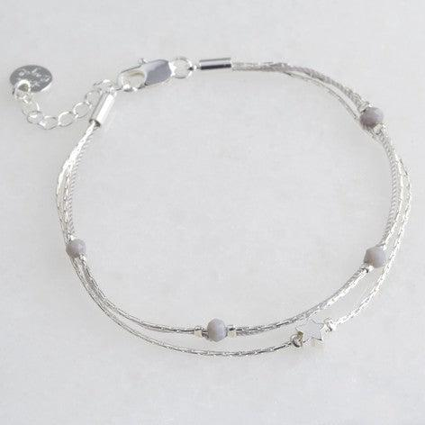 Silver Bead and Star Charm Bracelet