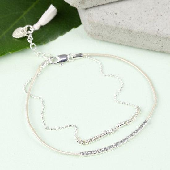 Silver Ball Chain and Stone Leather Bracelet