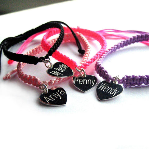 Personalised Heart Braided Bracelet 1 - The Charming Jewellery Store