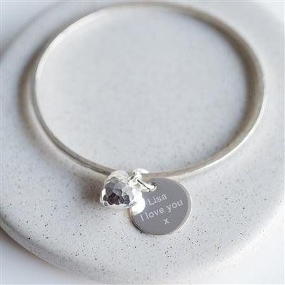 Pendant Heart Charm Hammered Bangle