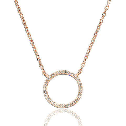 Rose Gold Cubic Zirconia Circle Necklace