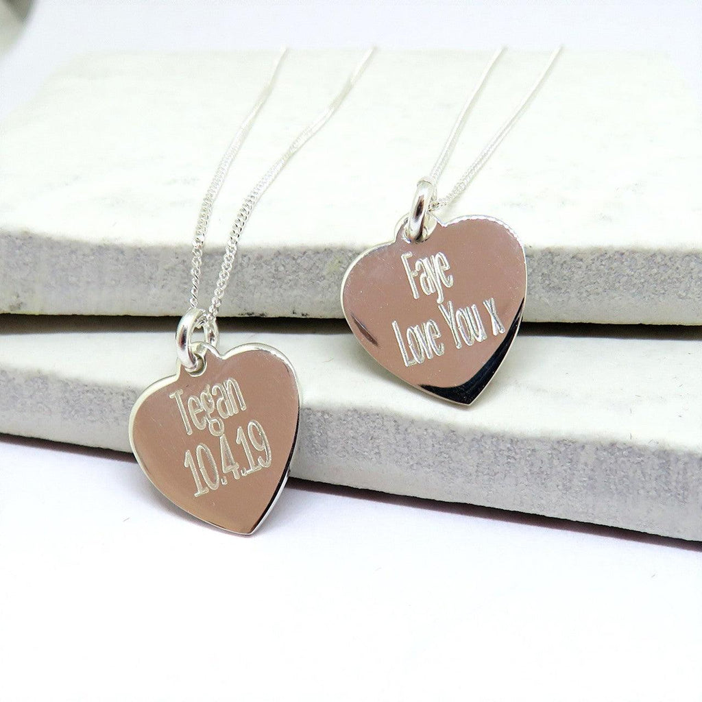 Personalised Silver Heart Necklace - The Charming Jewellery Store