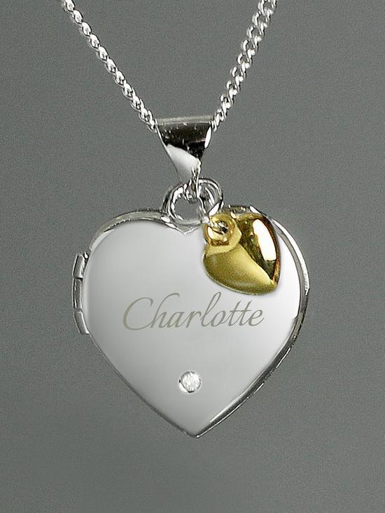 Personalised Silver Heart Locket Necklace with Diamond & Gold Heart Charm