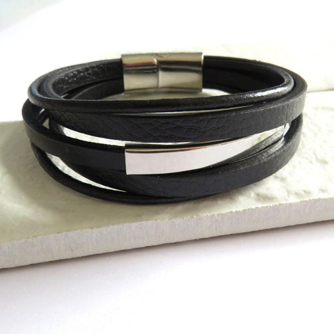 Men's Black Multi Strand Leather Bracelet