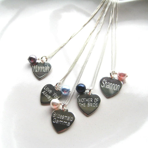 Personalised Swarovski Pearl and Silver Heart Necklace - The Charming Jewellery Store