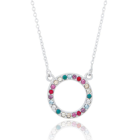 Sterling Silver Circle Rainbow Necklace