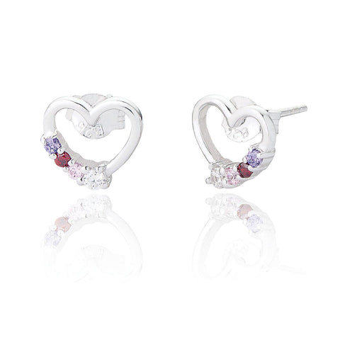 Sterling Silver Rainbow Heart Earrings