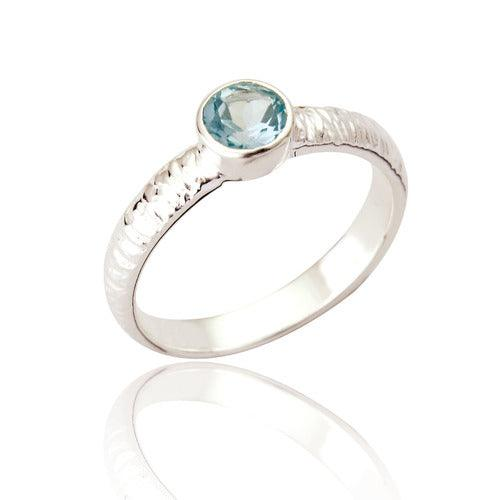 Silver Textured Ring - Blue Topaz