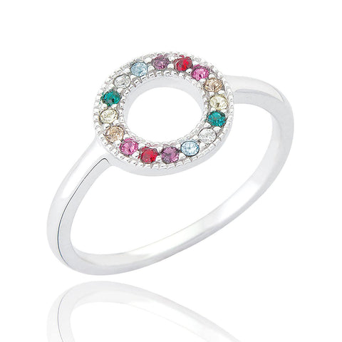 Sterling Silver Circle Rainbow Ring