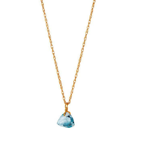 Gold Necklace with Blue Topaz