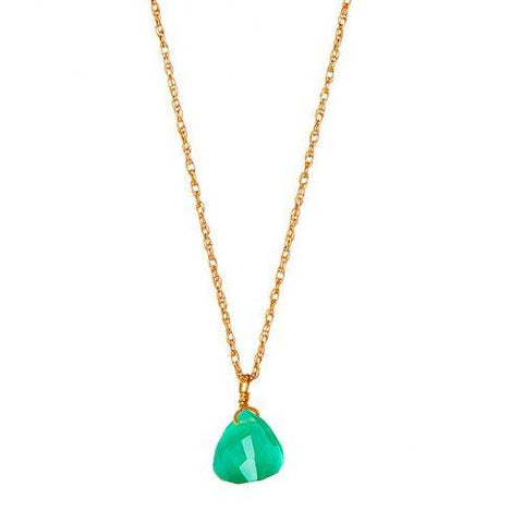 Gold Necklace with Green Onyx