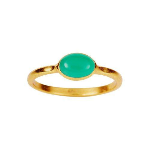 Gold Plated Ring with Green Onyx