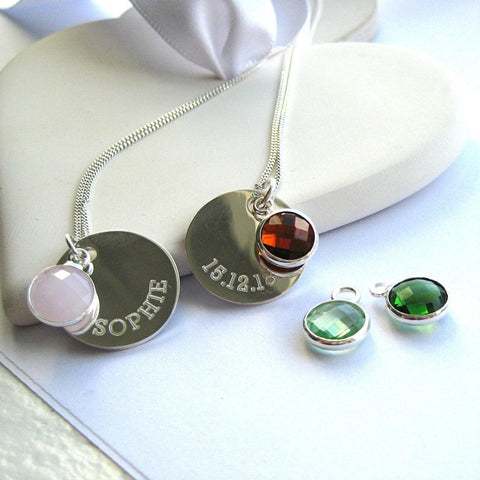 Personalised Birthstone Disc Pendant Sterling Silver Necklace