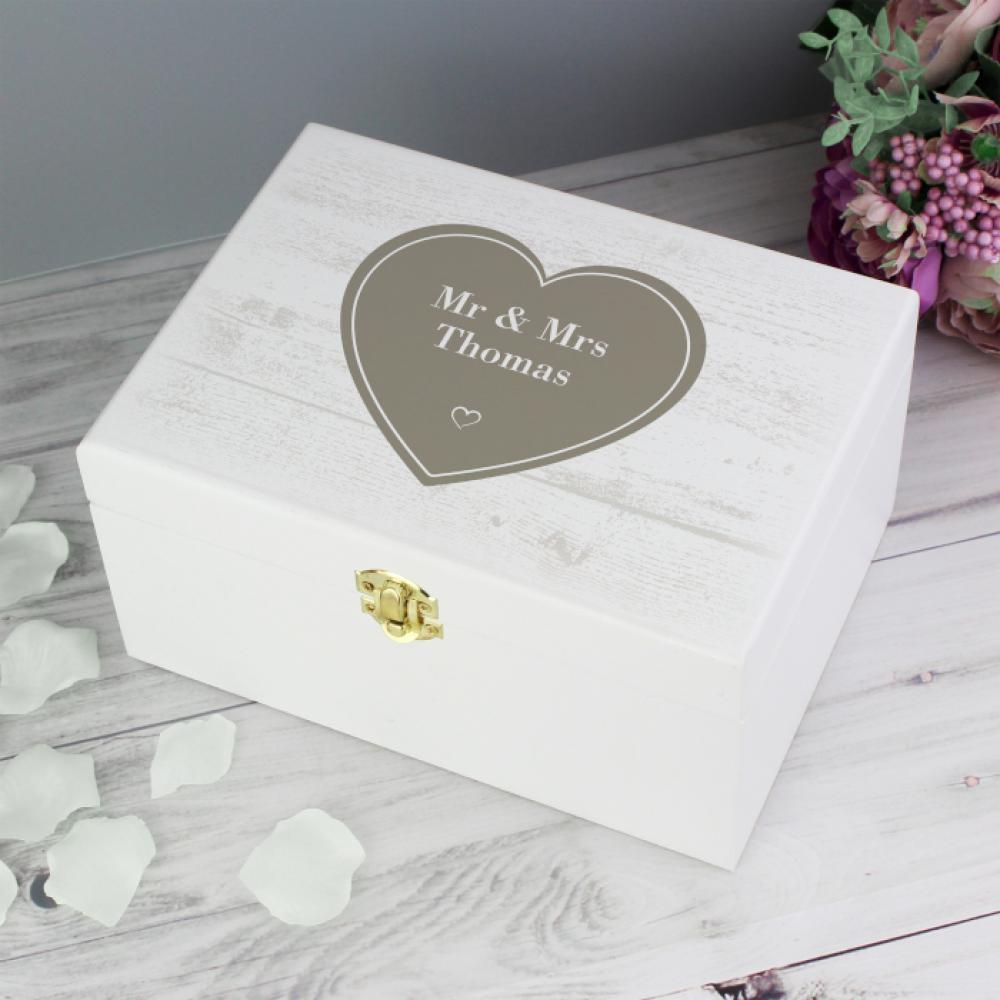 Personalised Heart White Wooden Keepsake Box