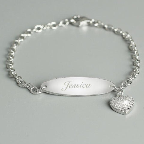 Personalised Children's Sterling Silver Heart Charm Bracelet