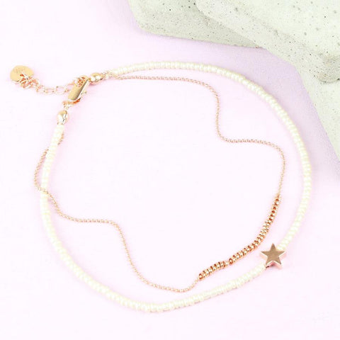 Rose Gold Beaded Star Anklet