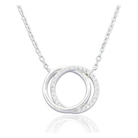 Silver Double Circle Pendant Necklace