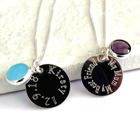 Personalised Silver Birthstone Disc Necklace