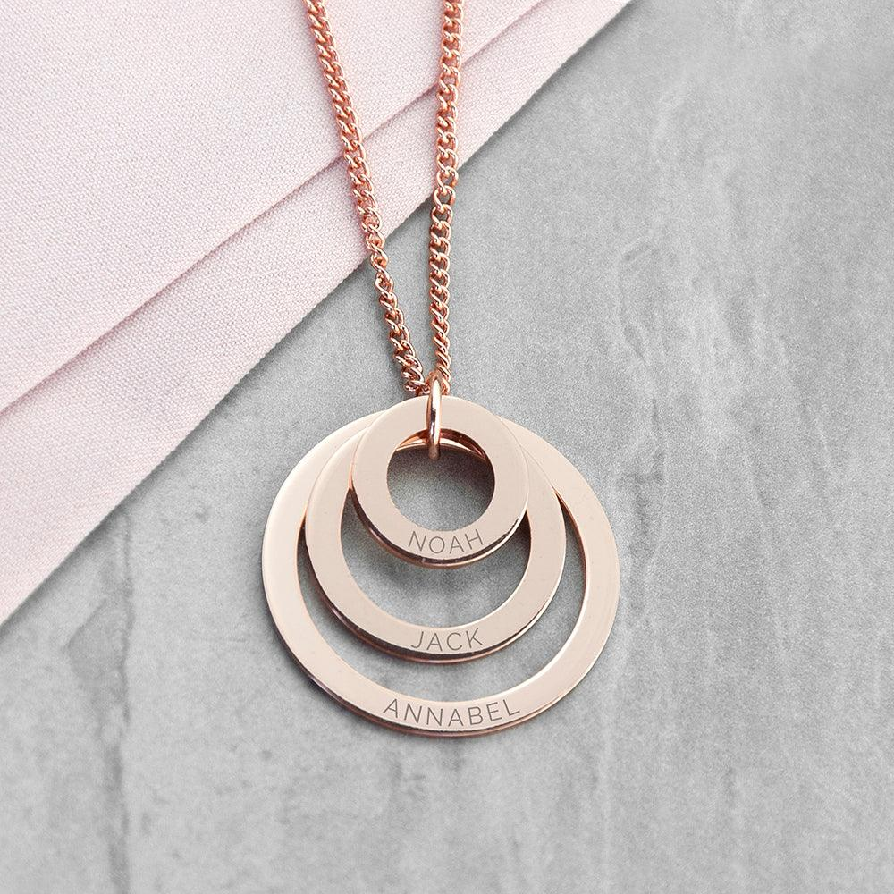 Personalised Rose Gold Love Rings Necklace