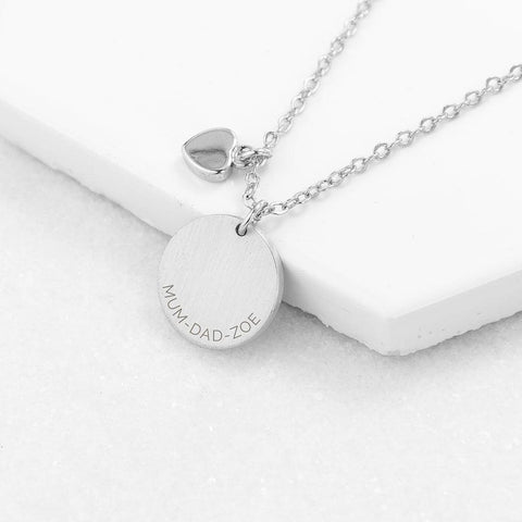 Personalised Disc & Heart Necklace