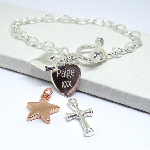 Personalised Heart Charm Link Bracelet 1 - The Charming Jewellery Store