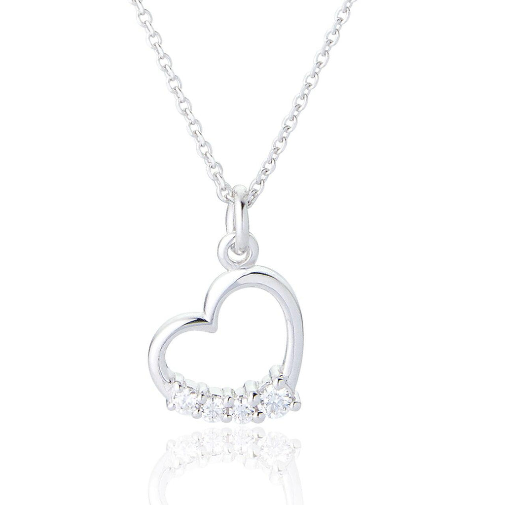 Sterling Silver Pendant Heart Necklace