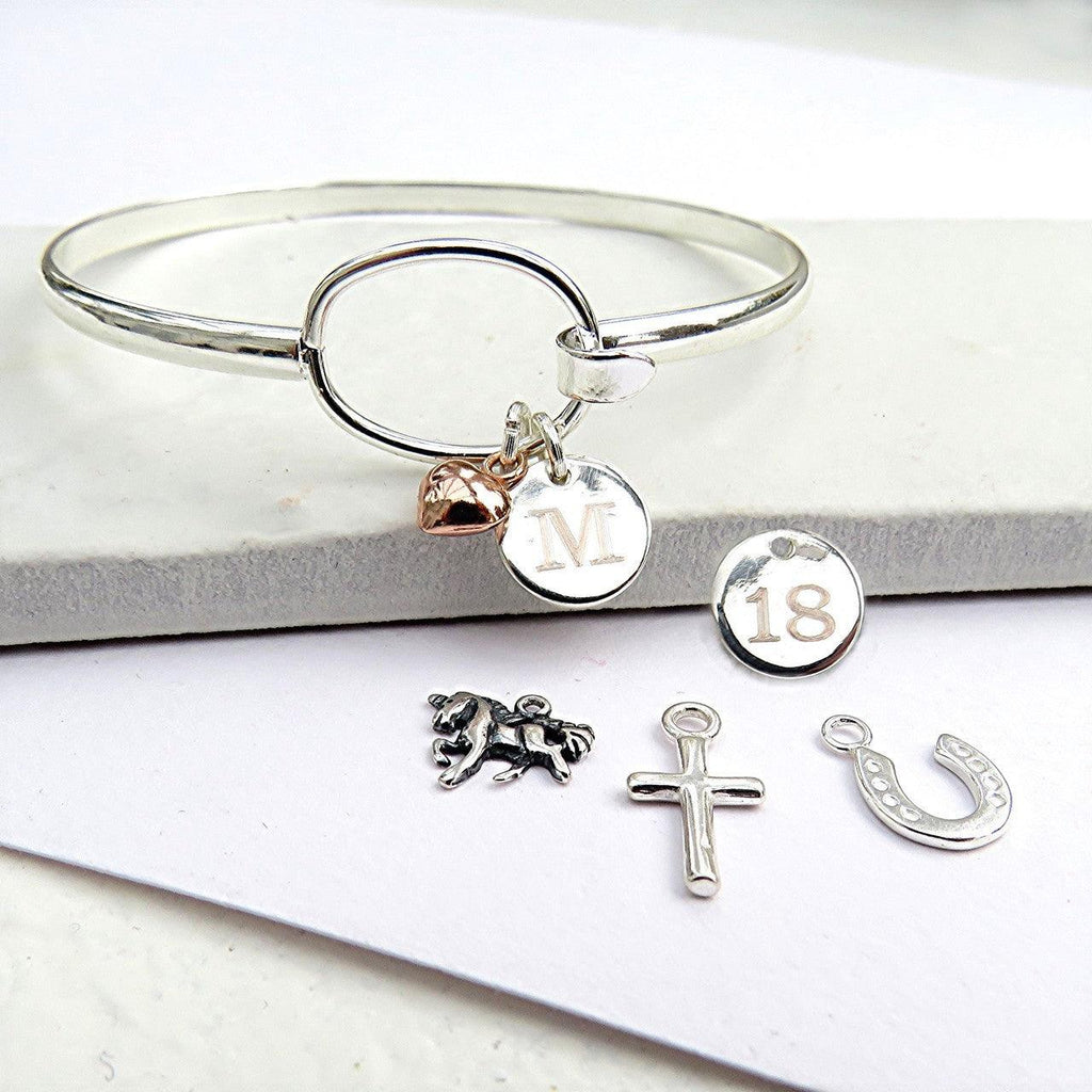 Personalised Disc & Charm Loop Bangle 1 - The Charming Jewellery Store