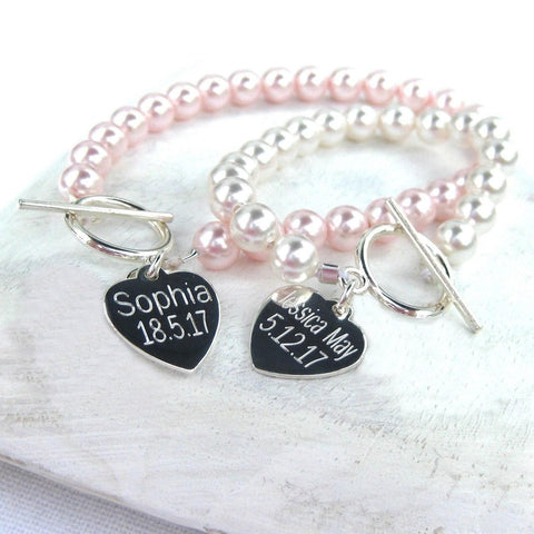 Personalised Swarovski® Pearl and Silver Heart Bracelet