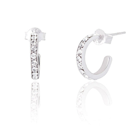 Silver CZ Hoops Earrings