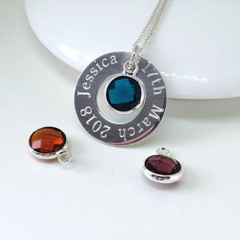 Personalised Birthstone Eternity Necklace 1 - The Charming Jewellery Store
