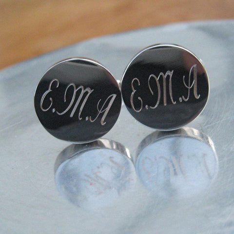 Personalised Round Cufflinks 1 - The Charming Jewellery Store
