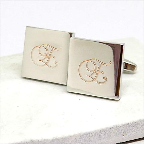 Personalised Initial Square Cufflinks - The Charming Jewellery Store