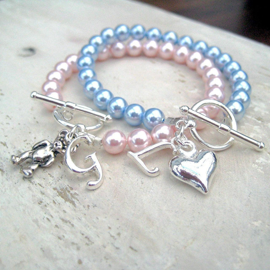 Personalised Swarovski Pearl Charm Initial Bracelet 1 - The Charming Jewellery Store