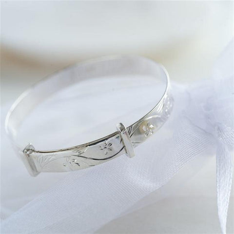 Patterned Silver Christening Bangle 1 - The Charming Jewellery Store