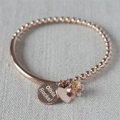 Personalised Rose Gold Pendant Charm Bracelet 1 - The Charming Jewellery Store