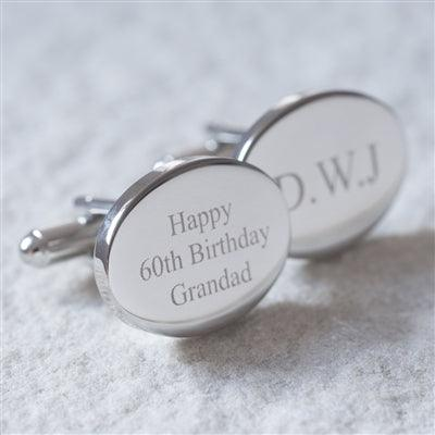Personalised Oval Cufflinks 1 -The Charming Jewellery Store