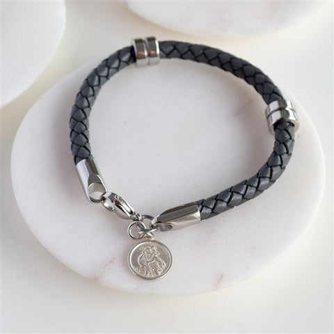 Personalised Silver St Christopher Leather Wristband 1 - The Charming Jewellery Store