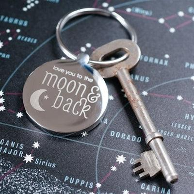 Personalised Moon & Back Round Silver Keyring - The Charming Jewellery Store