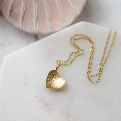 Brushed Gold Heart Necklace- The Charming Jewellery Store