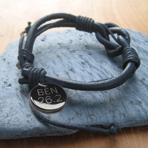 Personalised Men's Knot Leather Bracelet 1 - The Charming Jewellery Store