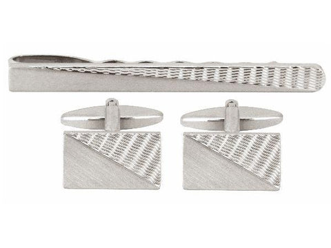 Silver Engine Turned Cufflinks and Tie Slide - The Charming Jewellery Store