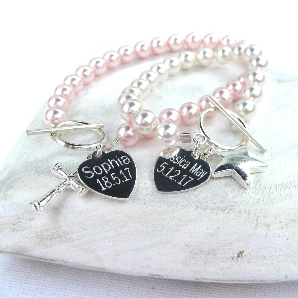 Personalised Swarovski Pearl and Silver Heart Charm Bracelet 1 - The Charming Jewellery Store