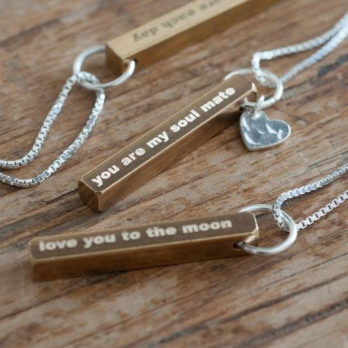 Personalised Brass Bar Necklace - The Charming Jewellery Store