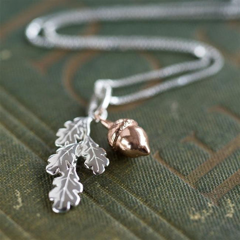 Autumn Acorn Oak Leaf Necklace 1 -The Charming Jewellery Store
