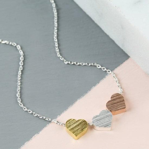 Gold Silver Rose Gold Heart Necklace 1 - The Charming Jewellery Store