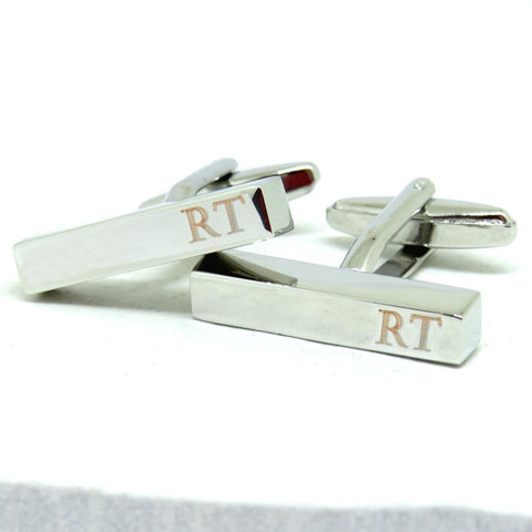 Personalised Initial Bar Cufflinks - The Charming Jewellery Store