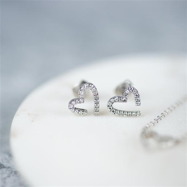 Diamond Heart White Gold Earrings 1 - The Charming Jewellery Store