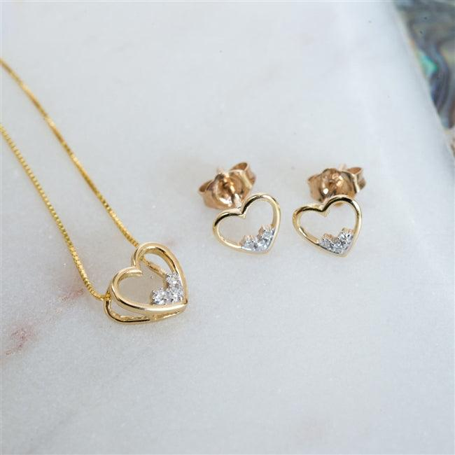 Gold Heart Diamond Necklace Earring Set 1 - The Charming Jewellery Store